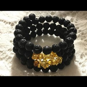Genuine Amber & Lava Stone Bracelet